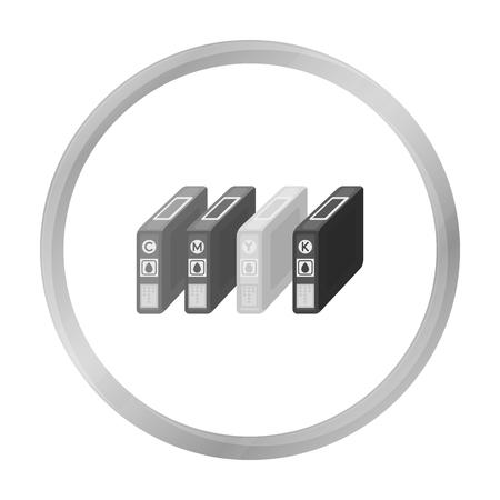 toner: Ink cartridges in monochrome style isolated on white background. Typography symbol stock vector illustration. Illustration