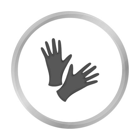doctor gloves: Black protective rubber gloves icon monochrome. Single tattoo icon from the big studio monochrome.