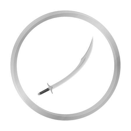 scimitar: Kilij icon in monochrome style isolated on white background. Turkey symbol stock vector illustration.