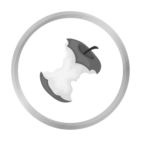 leftovers: Stub of apple icon in monochrome style isolated on white background. Trash and garbage symbol stock vector illustration.