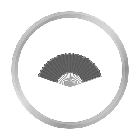 cartoom: Folding fan icon in monochrome style isolated on white background. Theater symbol stock vector illustration