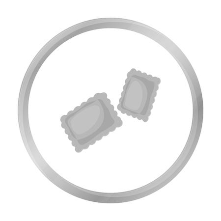 Ravioli pasta icon in monochrome style isolated on white background. Types of pasta symbol stock vector illustration.