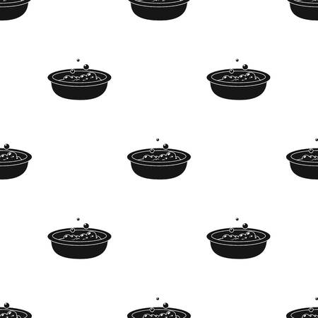 bathtime: Baby bath icon in black style isolated on white background. Baby born pattern stock vector illustration.