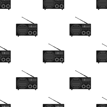 am radio: Radio advertising icon in black style isolated on white background. Advertising pattern vector illustration.