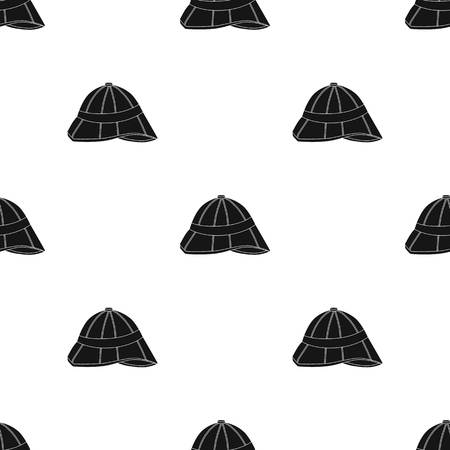médula: Pith helmet icon in black style isolated on white background. England country pattern stock vector illustration.