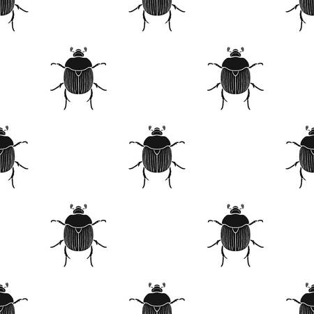 Dor-beetle icon in black design isolated on white background. Insects pattern stock vector illustration.