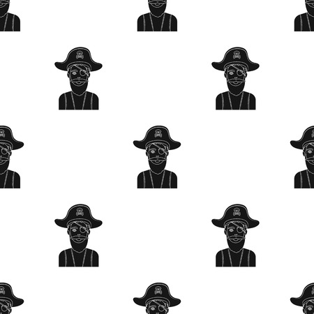 eye patch: Pirate with eye patch icon in black style isolated on white background. Pirates pattern vector illustration.