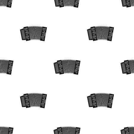 concertina: Classical bayan, accordion or harmonic icon in black design isolated on white background. Russian country pattern stock vector illustration.
