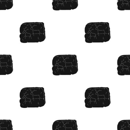 earthy: ?ave painting icon in black style isolated on white background. Stone age pattern vector illustration.