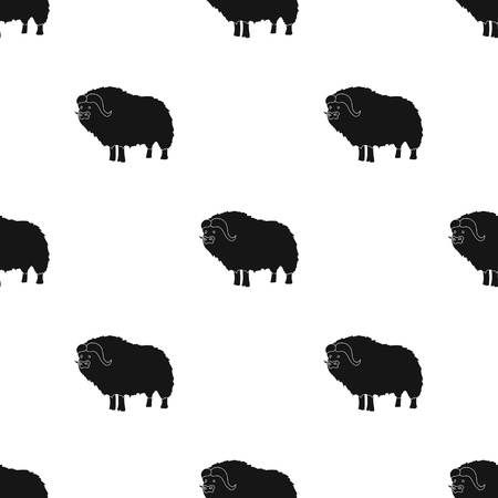 Muskox of stone age icon in black style isolated on white background. Stone age pattern vector illustration.