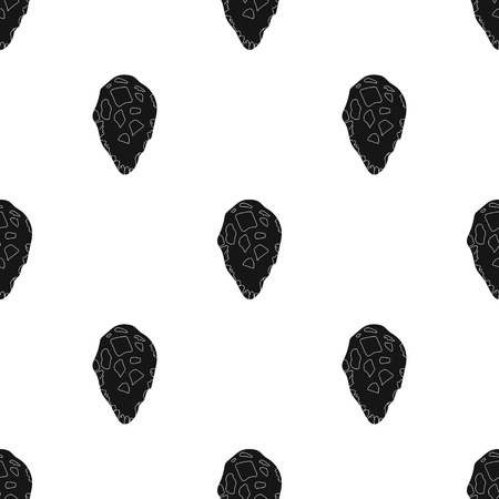 habilis: Stone tool icon in black style isolated on white background. Stone age pattern vector illustration.