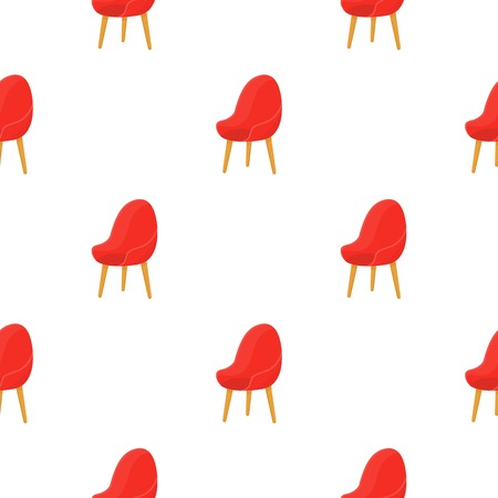 Red oval chair icon in cartoon style isolated on white background. Office furniture and interior pattern stock vector illustration. Illustration