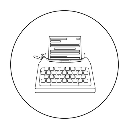 type writer: Typewriter icon in outline style isolated on white background. Films and cinema symbol stock vector illustration.