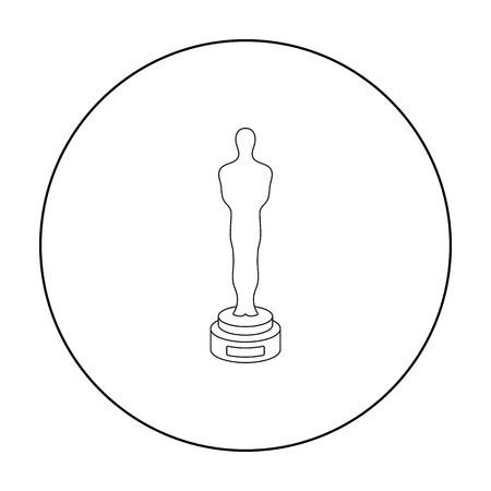 Academy award icon in outline style isolated on white background. Films and cinema symbol stock vector illustration. Illustration
