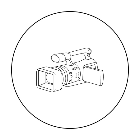 Camcorder icon in outline style isolated on white background. Event service symbol stock vector illustration.