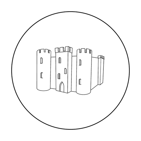 English castle icon in outline style isolated on white background. England country symbol stock vector illustration. Illustration