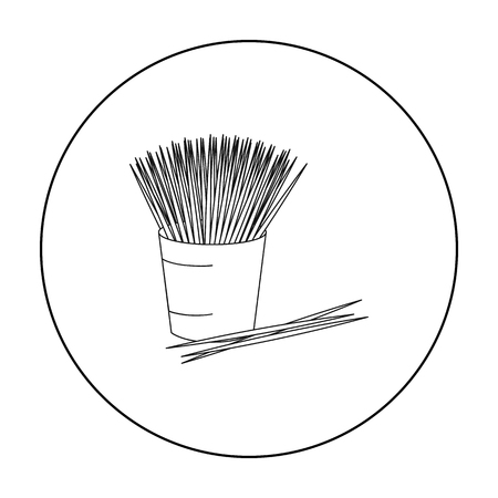 small group of objects: Toothpicks icon in outline style isolated on white background. Dental care symbol stock vector illustration.