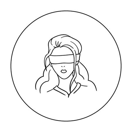 アウトライン スタイルの白い背景で隔離の人質アイコン。犯罪シンボル株式ベクトル イラスト。 ベクターイラストレーション