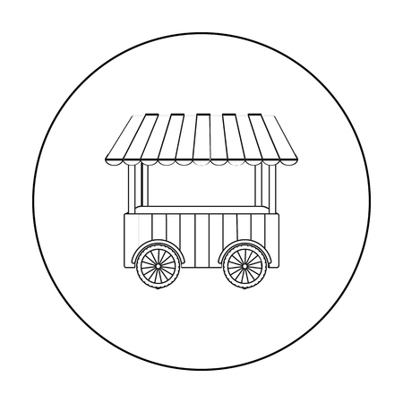 Snack cart icon in outline style isolated on white background. Circus symbol stock vector illustration.
