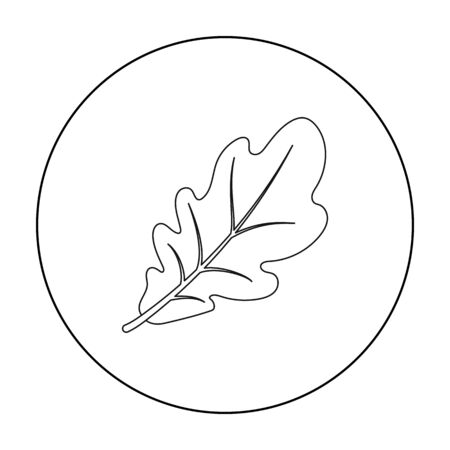 thanksgiving day symbol: Oak leaf icon in outline style isolated on white background. Canadian Thanksgiving Day symbol stock vector illustration.