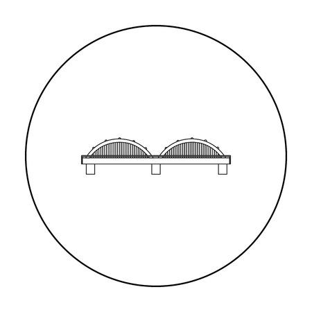 Contour d'icône de pont. Icône de bâtiment unique du contour de l'infrastructure de la grande ville. Vecteurs