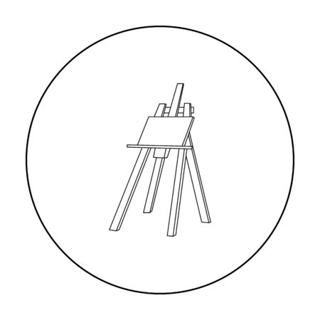 Easel With Masterpiece Icon In Outline Style Isolated On White