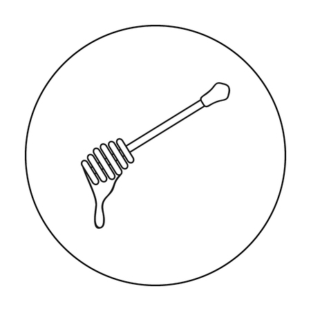 Honey dipper icon in outline style isolated on white background. Apiary symbol stock vector illustration