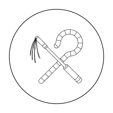 Crook and flail icon in outline style isolated on white background. Ancient Egypt symbol stock vector illustration.