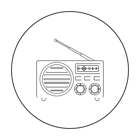 am radio: Radio advertising icon in outline style isolated on white background. Advertising symbol stock vector illustration.