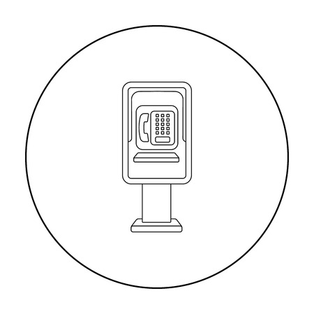 payphone: Payphone icon in outline style isolated on white background. Park symbol stock vector illustration.