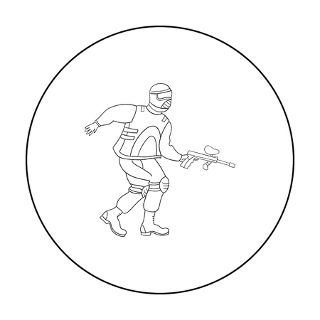 war paint: Paintball player icon in outline style isolated on white background. Paintball symbol stock vector illustration.