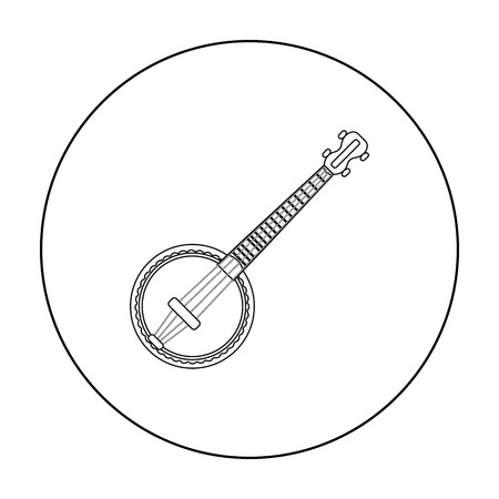 resonator: Banjo icon in outline style isolated on white background. Musical instruments symbol stock vector illustration
