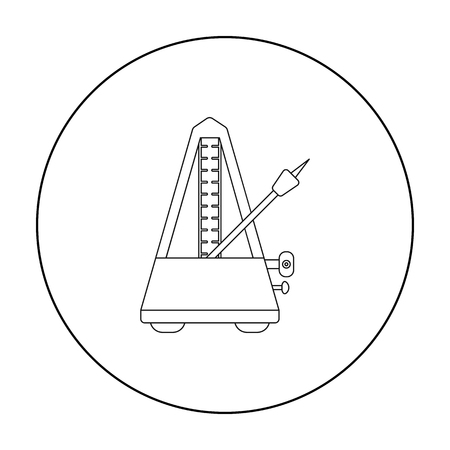 metronome: Metronome icon in outline style isolated on white background. Musical instruments symbol stock vector illustration Illustration
