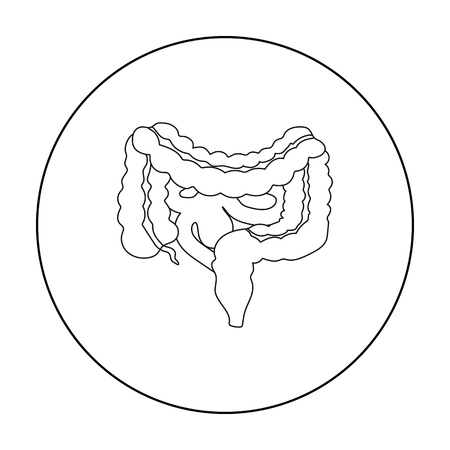 alimentary: Gastrointestinal tract icon in outline style isolated on white background. Organs symbol stock vector illustration.
