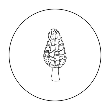 Morel icon in outline style isolated on white background. Mushroom symbol stock vector illustration.