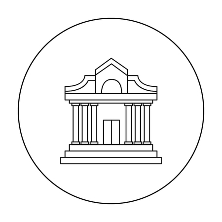 classical theater: Museum building icon in outline style isolated on white background. Museum symbol stock vector illustration. Illustration