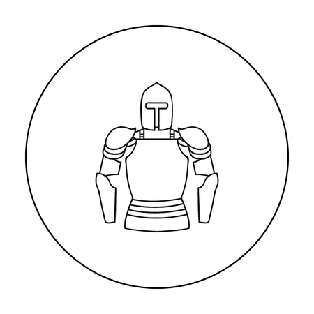 leggings: Plate armor icon in outline style isolated on white background. Museum symbol stock vector illustration.
