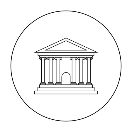 courthouse: Bank icon in outline style isolated on white background. Money and finance symbol stock vector illustration.