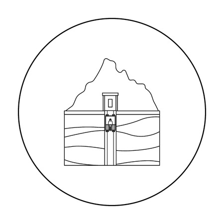 Mine shaft icon in outline style isolated on white background. Mine symbol stock vector illustration.