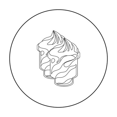 frozen yogurt: Frozen yogurt with syrup in cups icon in outline style isolated on white background. Milk product and sweet symbol stock vector illustration. Illustration
