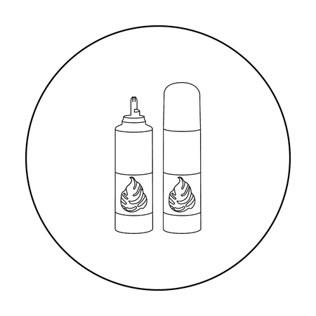 sweetened: Whipped cream in an aerosol can icon in outline style isolated on white background. Milk product and sweet symbol stock vector illustration.