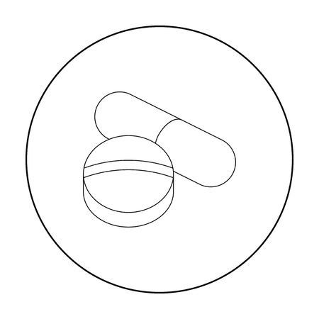med: Pill icon outline. Single medicine icon from the big medical, healthcare outline. Illustration