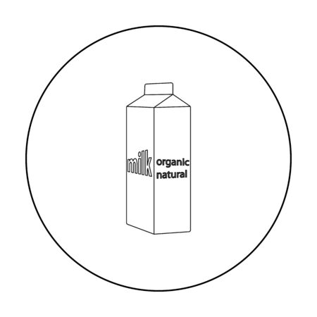 gable: Milk gable top carton package icon in outline style isolated on white background. Milk product and sweet symbol stock vector illustration. Illustration
