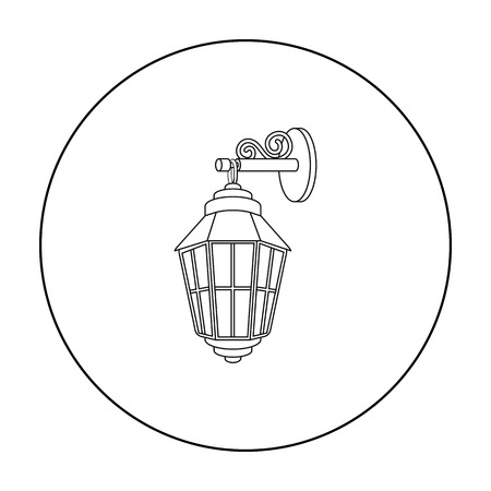 Street lantern icon in outline style isolated on white background. Light source symbol stock vector illustration