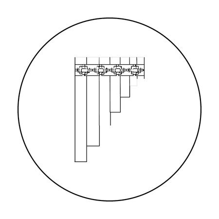 Icono de flauta de pan mexicano en el estilo de contorno aislado sobre fondo blanco. Ilustración de vector de valores de símbolo de país de México. Vectores