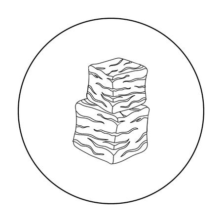 Icono de carne en cubos en el estilo de contorno aislado sobre fondo blanco. Ilustración de vector stock carnes símbolo Foto de archivo - 72074189
