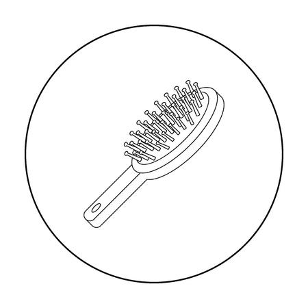 icona di spazzola per capelli in stile contorno isolato su sfondo bianco. Make up illustrazione simbolo vettoriali.