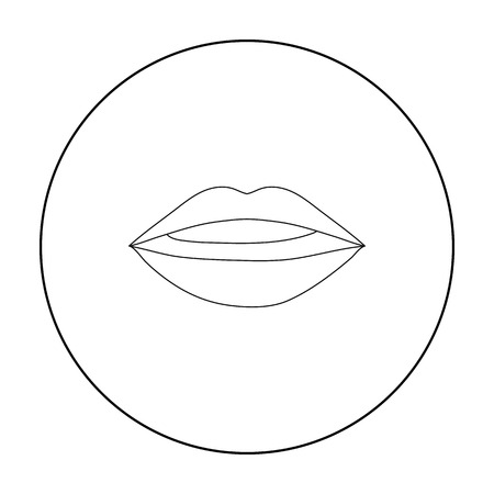Lips icon in outline style isolated on white background. Make up symbol stock vector illustration.