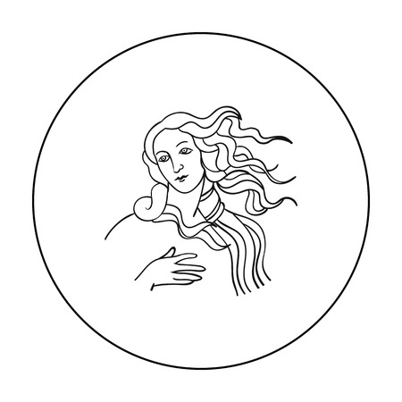 renaissance woman: Italian goddess of love icon in outline style isolated on white background. Italy country symbol stock vector illustration.