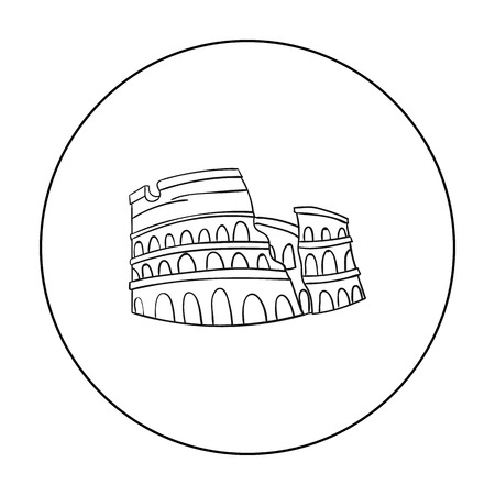 flavian: Colosseum in Italy icon in outline style isolated on white background. Italy country symbol stock vector illustration.